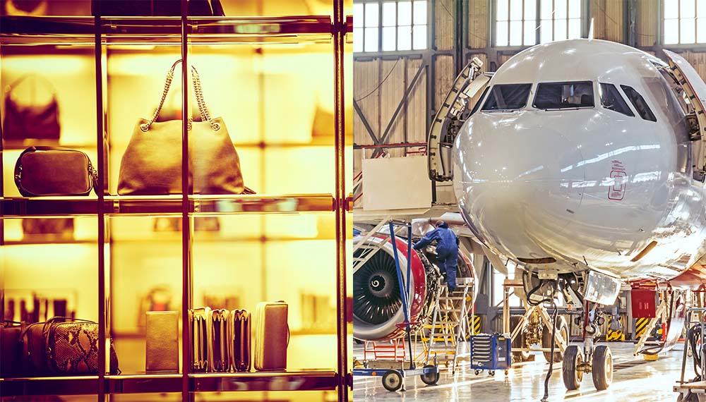 images of luxury goods and aircraft manufacture
